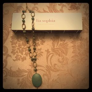 Lia Sophia Turquoise and Gold Necklace